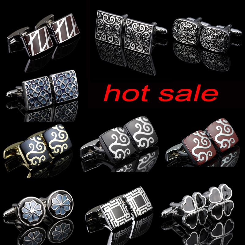WN Royal Fashion Cufflinks Color Gold And Silver Novel Crystal Carving Decorative Pattern Design Cufflinks Wholesale/retail