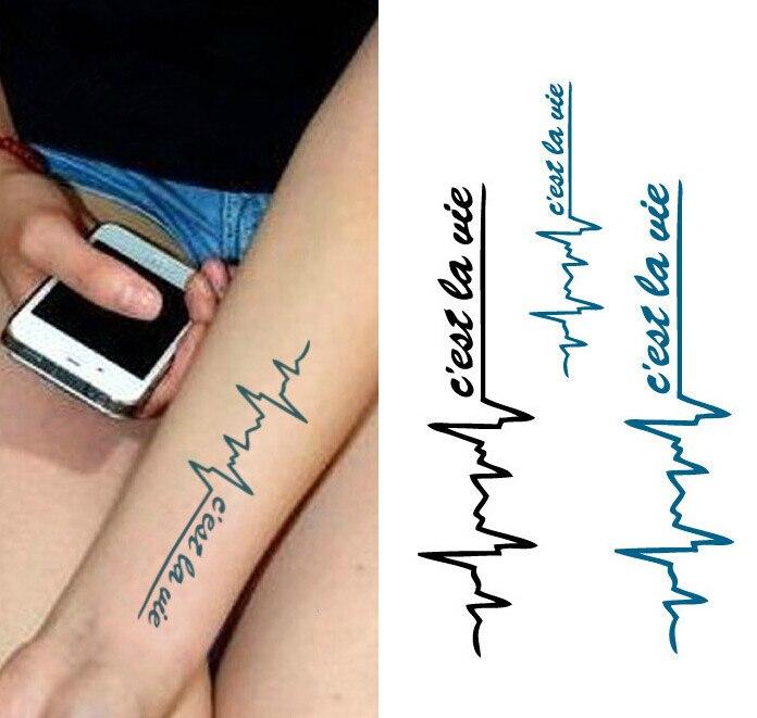 Waterproof Temporary Tattoo Stickers Cool Black Blue ECG