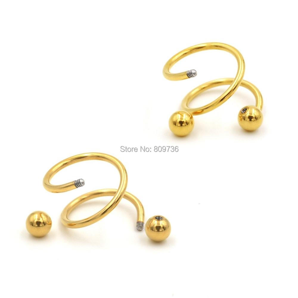 5 Colors Gauge 18G Ball Surgical Steel Double Spiral Twister ...