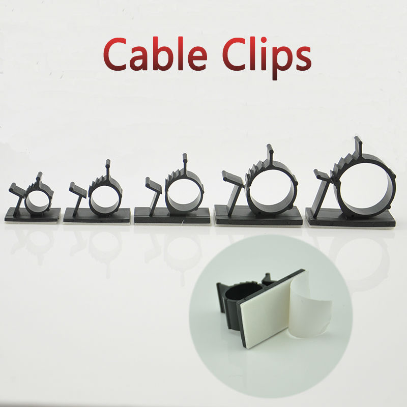 10pcs Cable Clips 0810 Adhesive Backed Nylon Wire Adjustable Cable Clamps Car Wire Tie Amount Holder Black