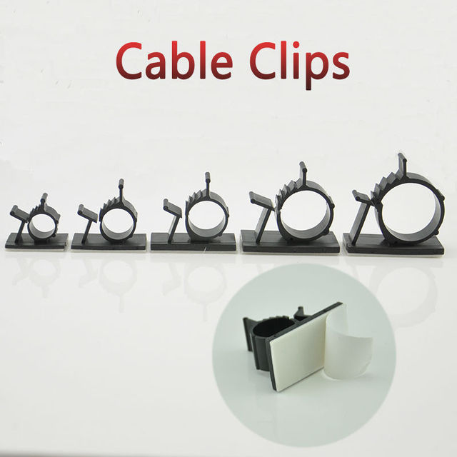 10pcs Cable Clips 0810 Adhesive Backed Nylon Wire Adjustable Cable ...