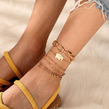 boho Beads Ankle Bracelet cheville for Women Gold Color Leg Chain Tassel initial  Anklet Vintage Foot leg Jewelry Accessories
