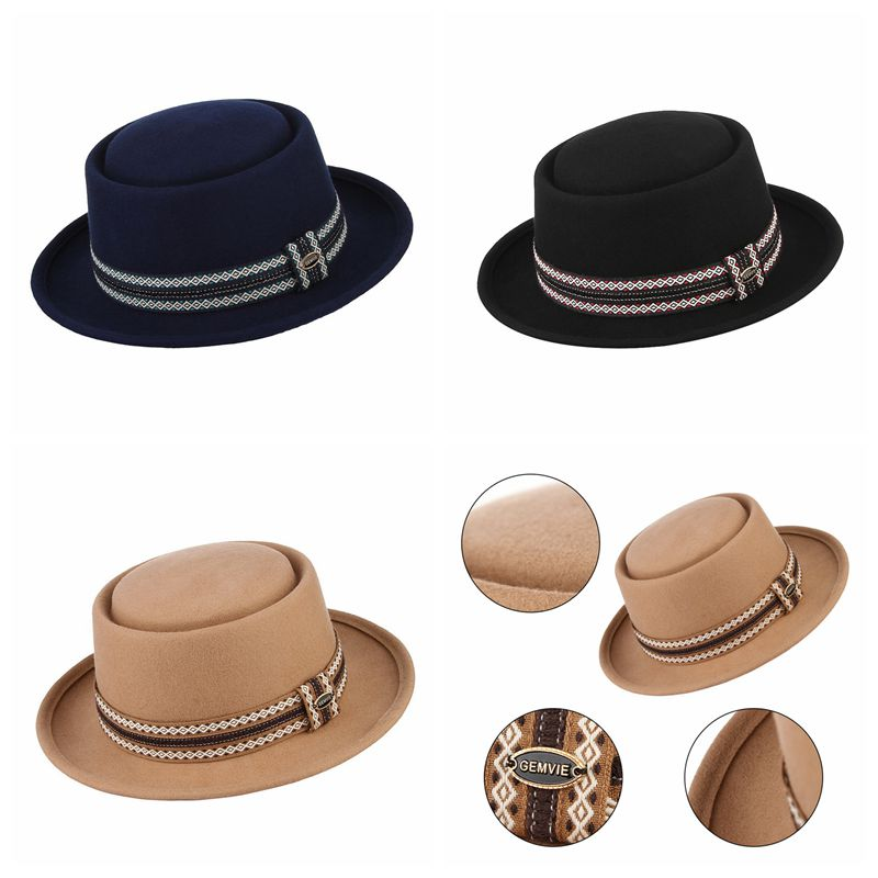 2ca6380585e Vintage Elegant Fedoras 100% Wool Felt Hats For Men Women Classical Solid  Color Narrow Brim Flat top Jazz Cap Top Hat With Box-in Fedoras from  Apparel ...