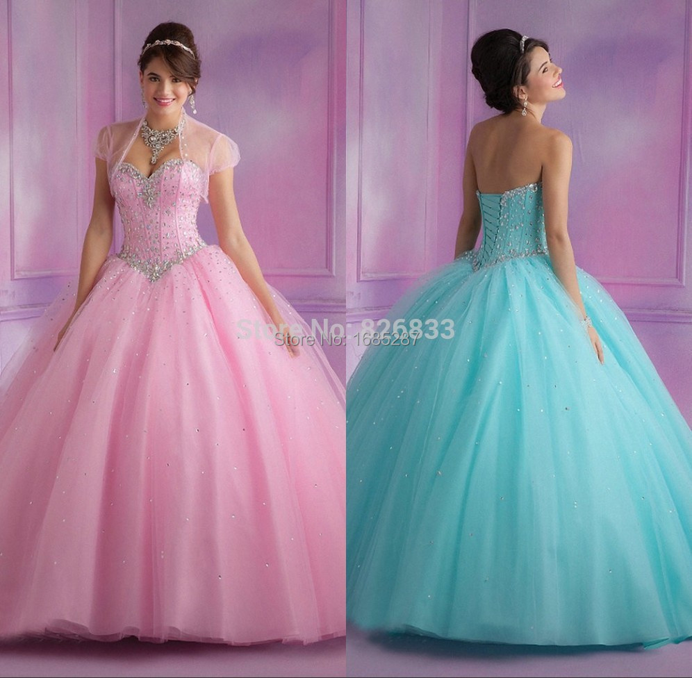 Masquerade Vestidos 2015 Sparkle amor moldeado Pink Ice Blue vestido ...