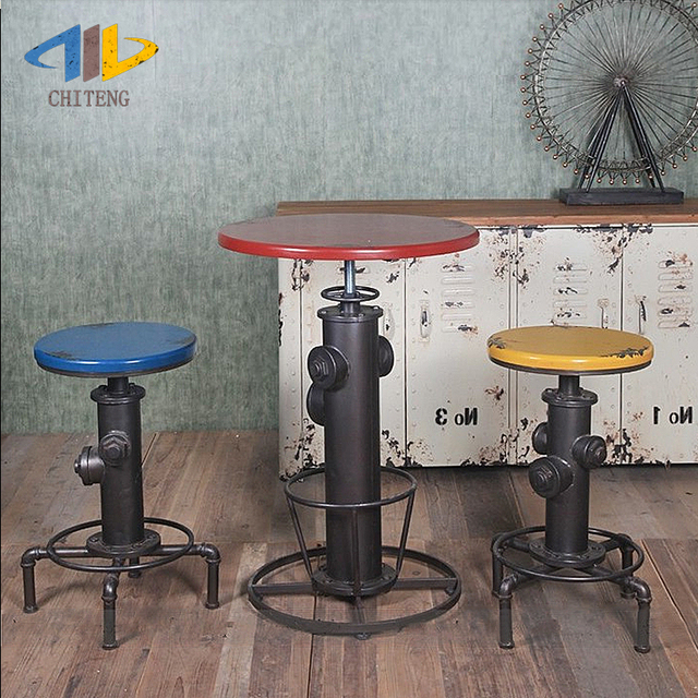 Chi Teng LOFT Industrial Wind Iron Bar Stool Retro Bar Tables And Chairs  Can Rotate And