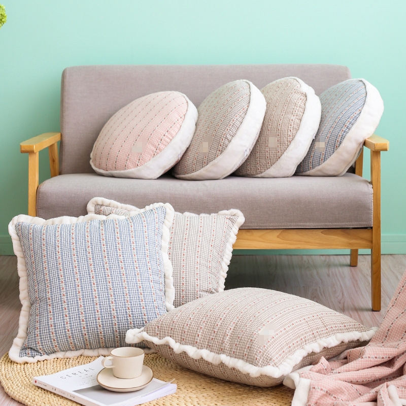 Stripe Floral Cotton Winter Flannel Cushion Cover/Throw Pillow Case, Invisible zipper Closure, for Sofa Bed Floor Home Decor