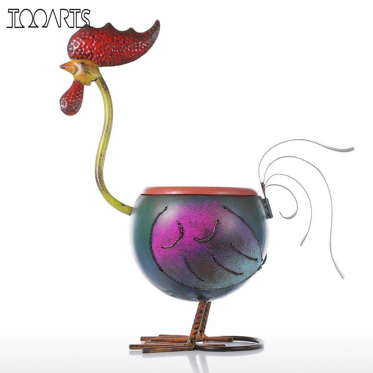 Tooarts Coq Pot De Fleur Jardin Fower Pots En Plastique Décoration Cadeau plante en pot Décoration de La Maison Mini Pot En Métal Multicolore