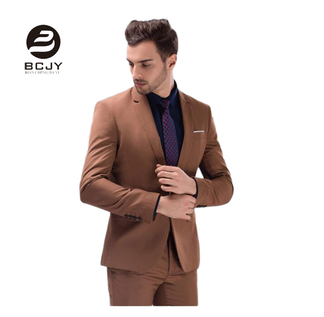 Hot Selling 2 Pieces Brown Peak Lapel Men Suits One Button Wedding ...