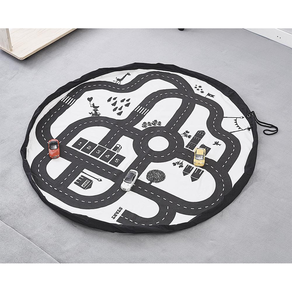 Toys Play Mat Highway Track Print Playmats For Kid Child Climbing Blanket Racing Games Carpet Hanging Bag