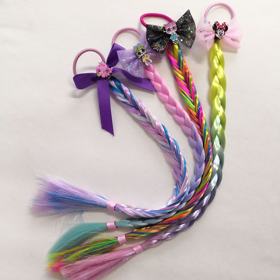 New Cartoon Girls Hair Colours Hair Fashion with Long Braid Tails Hair Clips For Children Kids Boutique   Headwear   Accessories