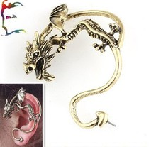 Wholesale Fashion Vintage Dragon Punk Tattoo Ear Cuff  Wrap Clip Earrings Rock Gold Color SPX0032