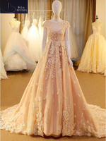 Hot Sale Champagne Off The Shoulder Tulle Wedding Dress 2018 Scoop A Line Appliques robe de mariee Backless Sexy Bride Dress