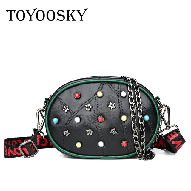 TOYOOSKY High Quality Crossbody Bags For Women Rivet Chain Shoulder Bag Luxury Brand Fashion PU Leather Chest Bag Ladies Handbag