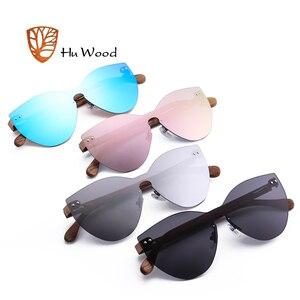 Image 5 - HU WOOD nuevas gafas de sol de moda hombres mujeres mariposa gafas de sol marco de madera Natural sin montura para conducir, para pescar UV400 GR8025