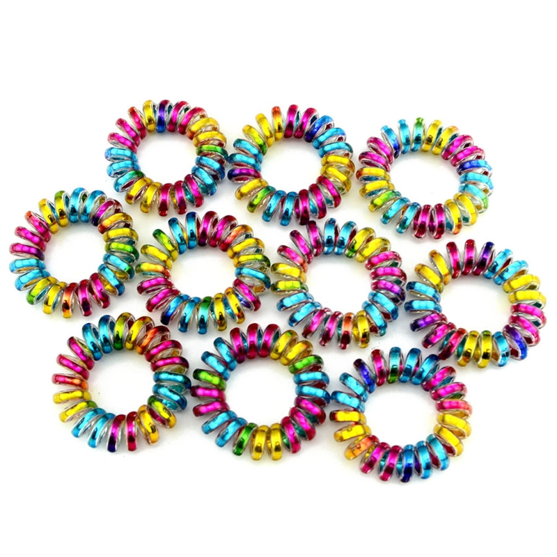 10Pcs 3.8cm Colorful Telephone Wire Cord Line Gum Holder Elastic Hair Band Tie