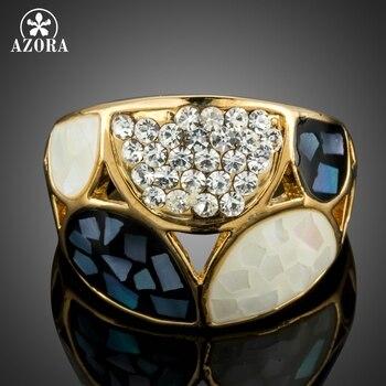 ab4ce963589d AZORA semicírculo patrón de diseño joyería de fiesta de cóctel anillo