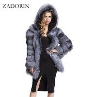ZADORIN Thanh Lịch Dài Faux Fur Coat fluffy Áo Khoác Mùa Đông 2017 Phụ Nữ dày Ấm Faux Fur Coats Với Trùm Đầu Màu Trắng Đen Cộng Với Kích Thước