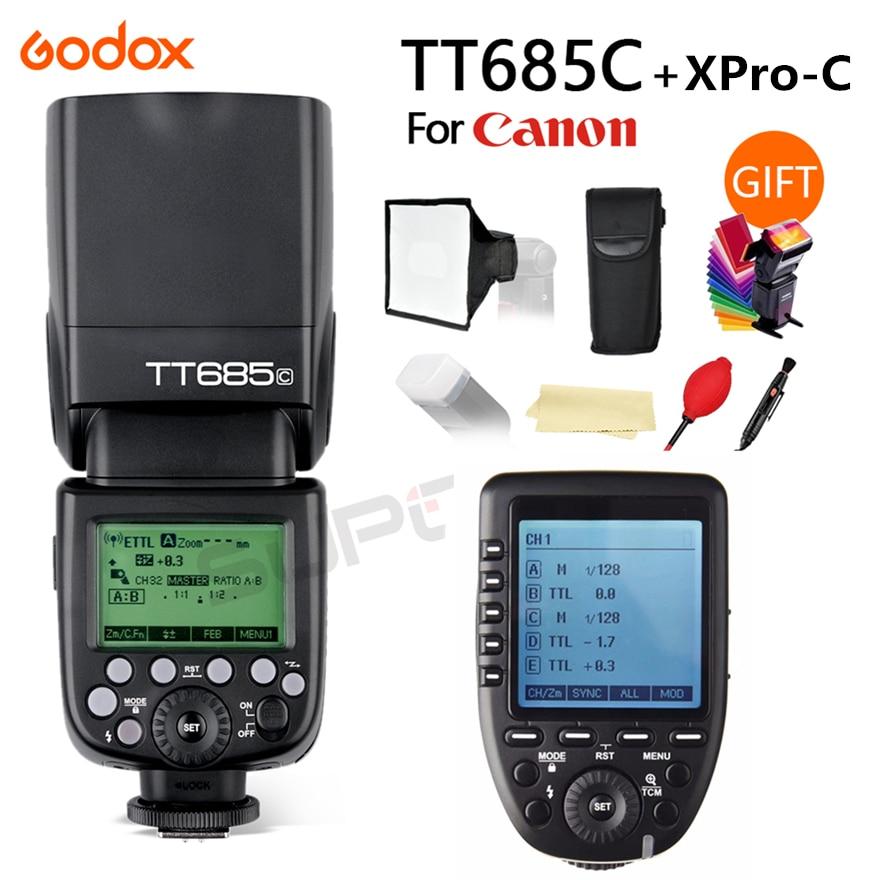Godox TT685C 2.4G HSS E-TTL Speedlite Flash For Canon EOS 70D 60D 5D2 5D3 6D 7D 650D 700D + XPRO-C TTL Trigger + 15*17 Softbox