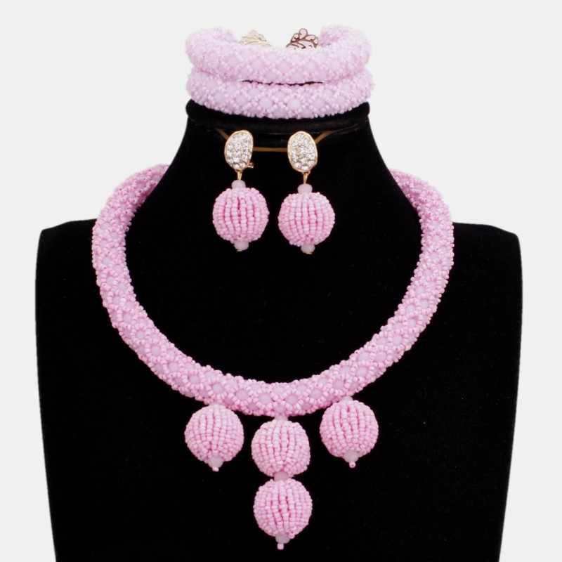 Dudo 5 Colors African Party Jewelry Set Simple Nigerian Necklace Set With Beaded Balls Crystal Handmade Jewellery Set 2019