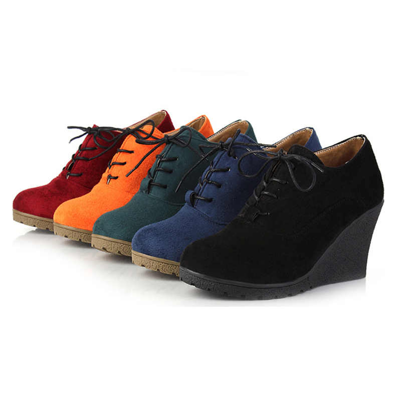 Zatsopano Sıcak Satış Yüksek Topuk Takozlar Platformu Pompaları Kadınlar Lace up rahat ayakkabılar Kadın Moda Rahat Yüksek Kaliteli Ayakkabı