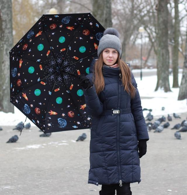 3 adet 1 adet ücretsiz olsun Fiberglas rüzgar geçirmez 5 kez siyah kaplama uv şemsiye cep katlanır evrensel uzay baskılı şemsiye