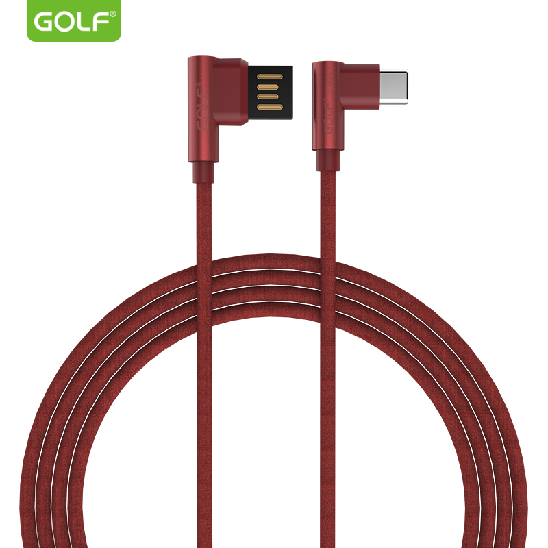 GOLF Right Angle Type-C USB Data Charging Cable for Xiaomi 5S 6 8 SE Oneplus 3 5 6 Android Phone USB Charger Wire for Huawei P20