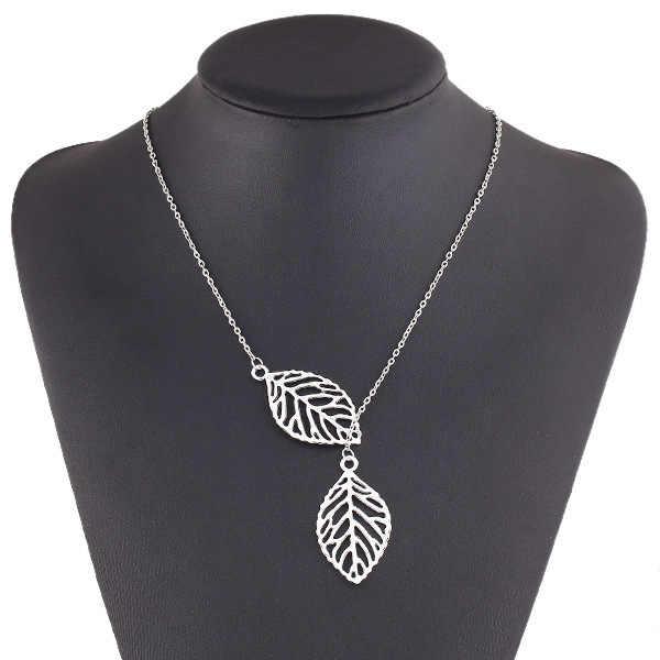 Koreaanse mode trend wild bos gebaseerde metalen blad hanger ketting sleutelbeen korte sectie van dubbele blad sieraden gratis verzending