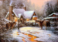 T K Oil Painting A Christmas Welcome on canvas hand painted oil painting shipping free