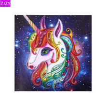 Forma especial diamante bordado cristal diamante pintura colorido unicornio brillante redondo diamante Cruz puntada decoración LY727