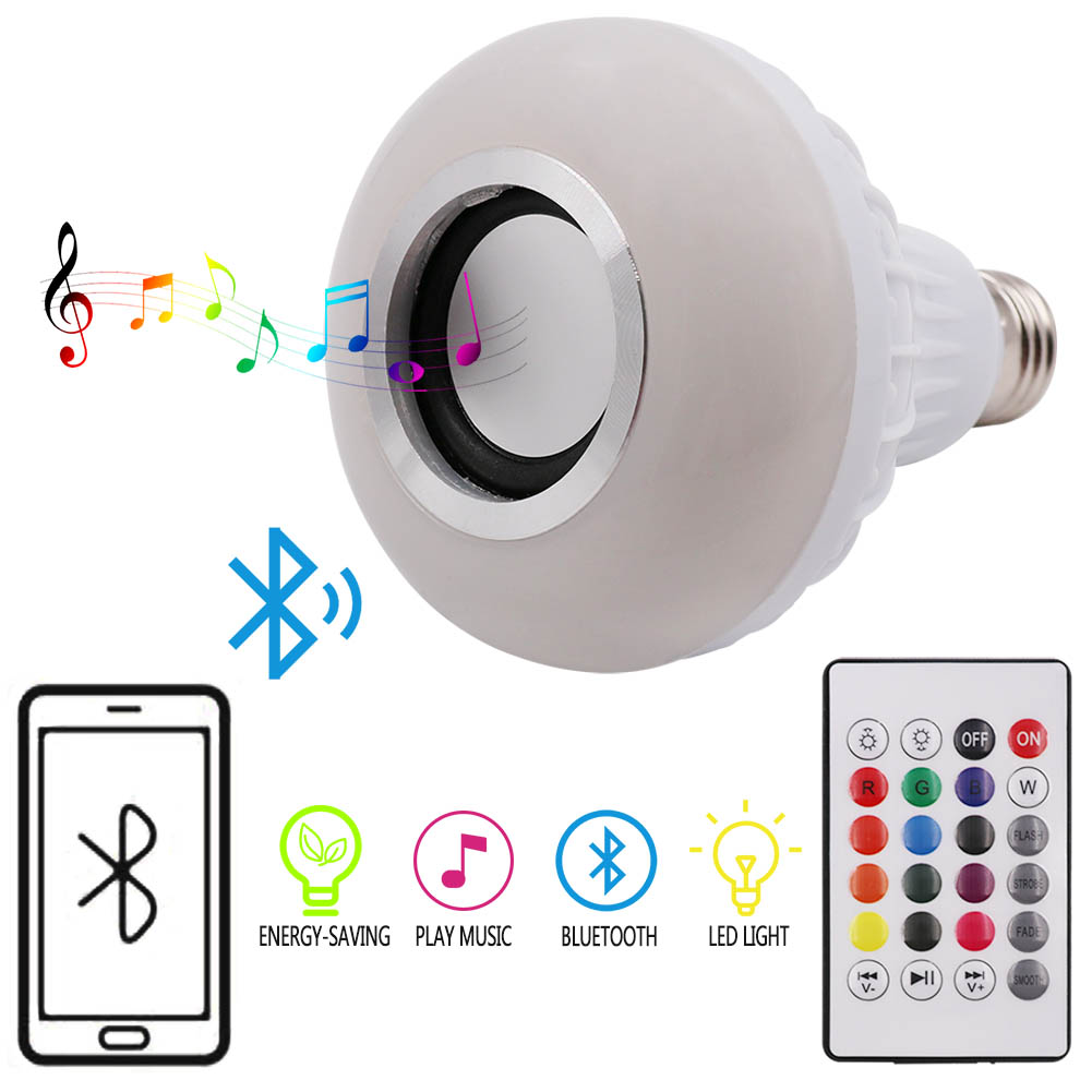 Wireless Bluetooth LED Bulb Light Speaker 12W RGB Smart Music Play Lamp + 24key Remote controller speaker bluetooth led rgb light music large bulb lamp color changing via wifi app control mp3 player wireless bluetooth speaker