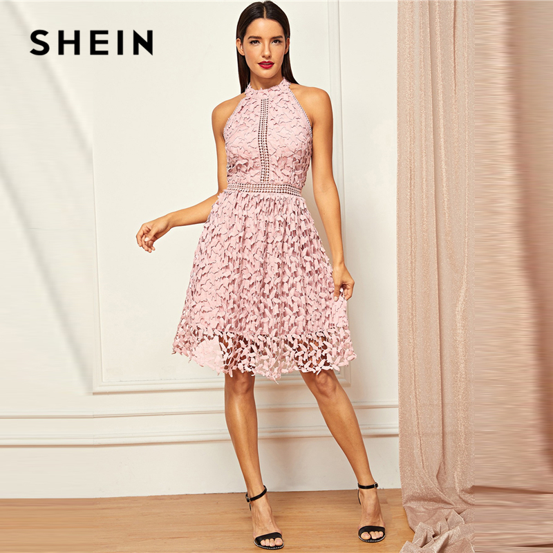 Image 3 - SHEIN Going Out Pink Party Halter Neck Lace Skater Sleeveless 