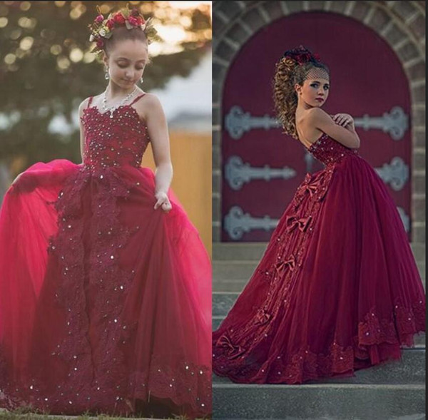 2019 Burgundy   Flower     Girl     Dresses   For Weddings Bows Ball Gown SleeevelessCrystal Beaded Communion   Girls   Pageant   Dress   Prom Party