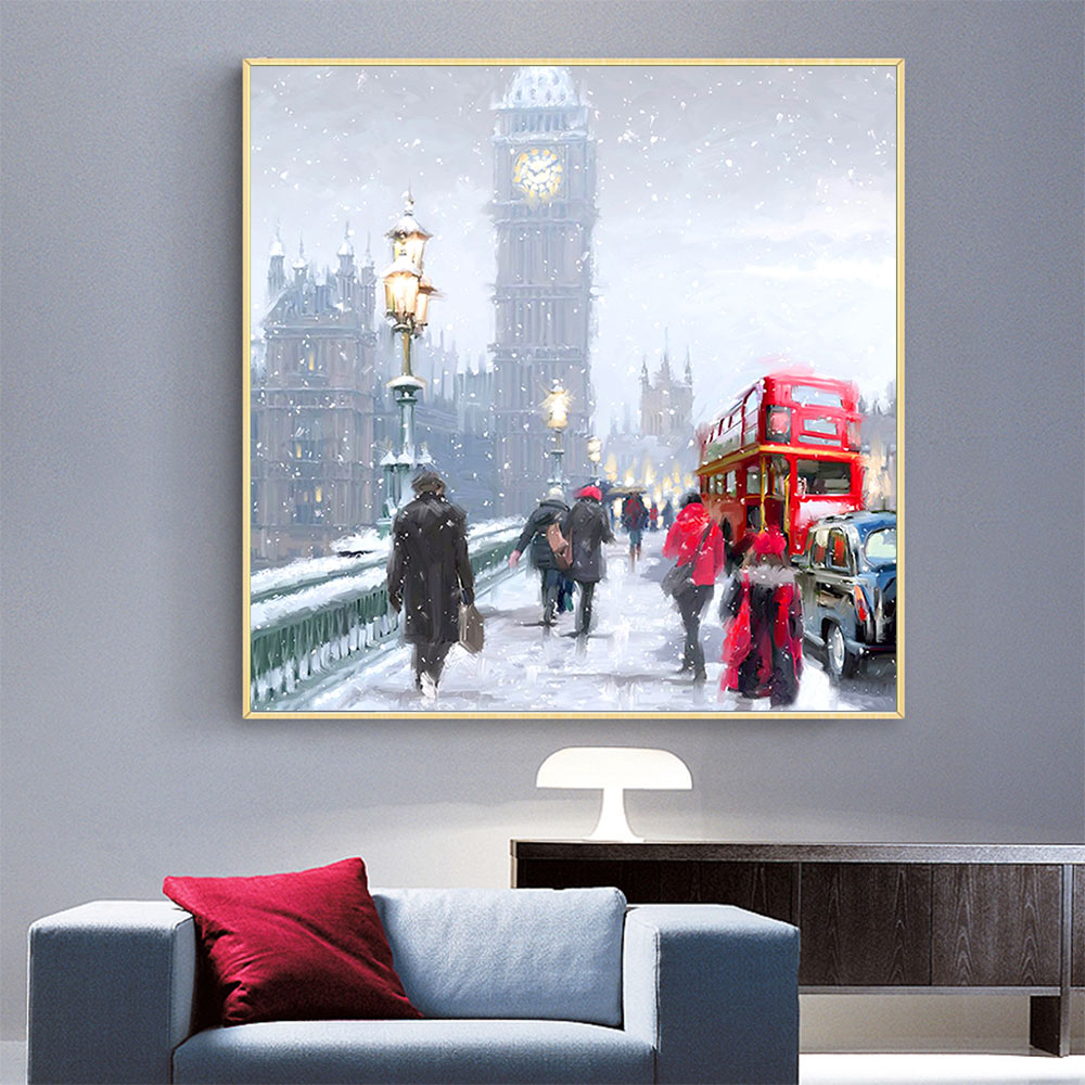 london street view Moge Diamond Painting Full Round scenic portrait DIY sticking drill cross stitch 5D embroidery decorative in Diamond Painting Cross Stitch from Home Garden