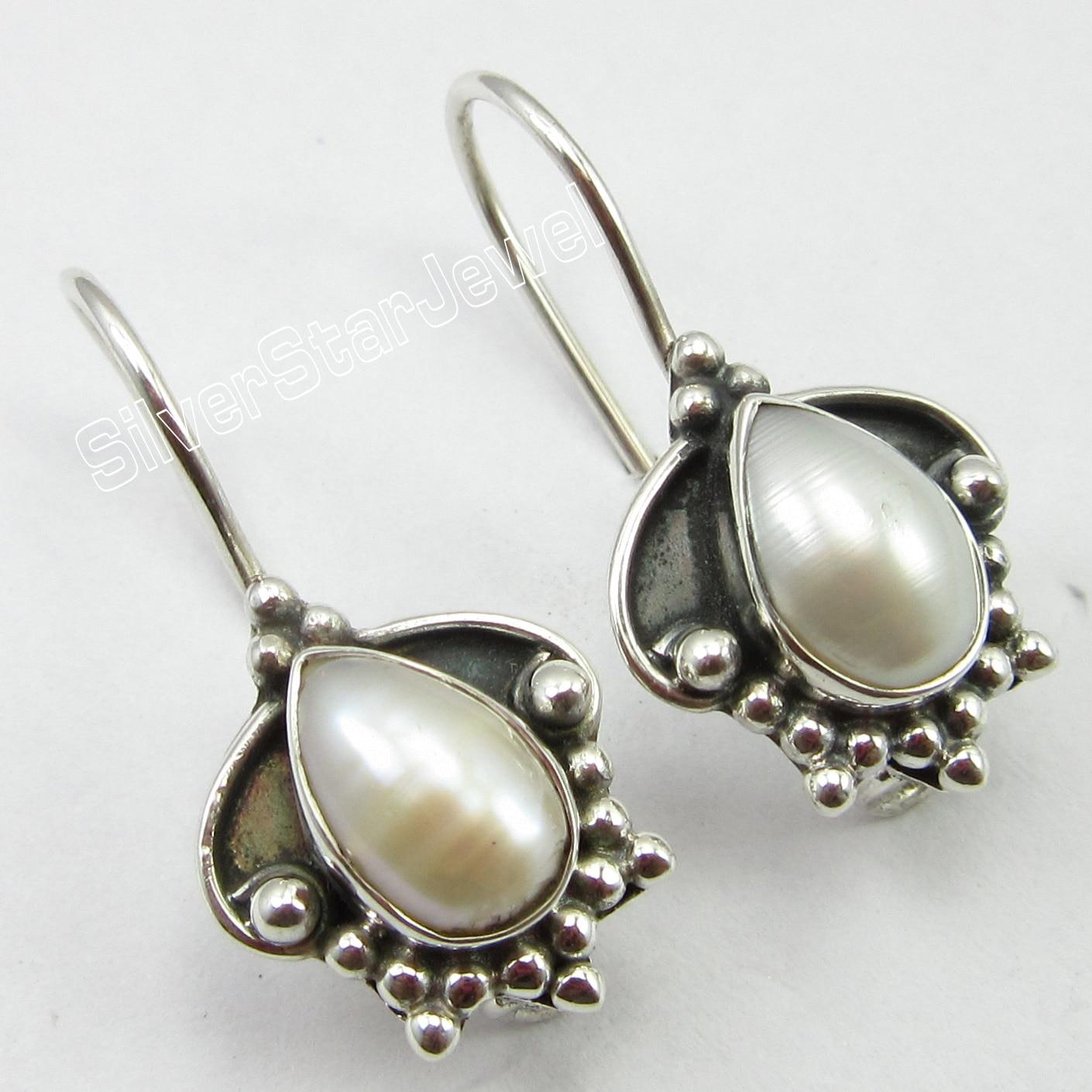 Chanti International AAA WHITE SEA PEARL Jewellery, Silver OXIDIZED ART Earrings 2.5 CM