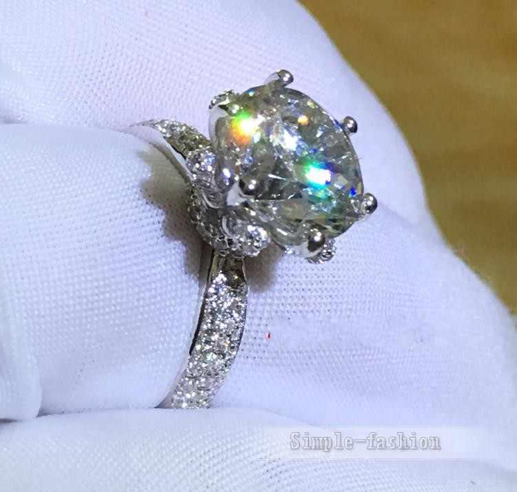 Choucong vòng Thời Trang Genuine 3ct Đá AAAAA zircon cz 925 Sterling Silver Phụ Nữ Engagement Wedding Nhạc Chuông Quà Tặng