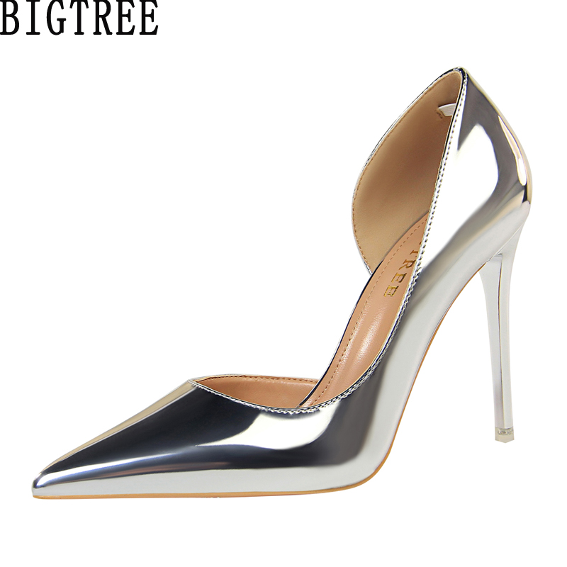 BIGTREE Women Pumps Faux Patent Leather Shoes Cut Out Thin Heel Glossy Court Shoes Woman Dress OL High Heel Stilettos Plus Size