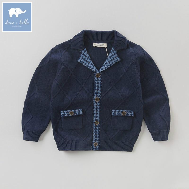 DK0792 dave bella autumn kids boys solid cardigan children 100% cotton knitted Sweater kids coat