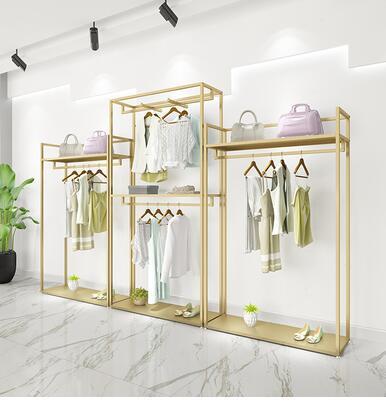 Oro di visualizzazione negozio di abbigliamento rack-stile a doppio strato vestiti rack negozio di abbigliamento decorazione degli uomini e delle donne design di alta.