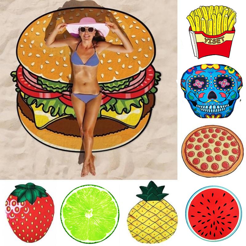 Round Beach Towel 150*150CM Beach Mat Donut Pizza Pineapple Beach Towel Circle Tassels Watermelon Hamburger Cotton Bath Mat