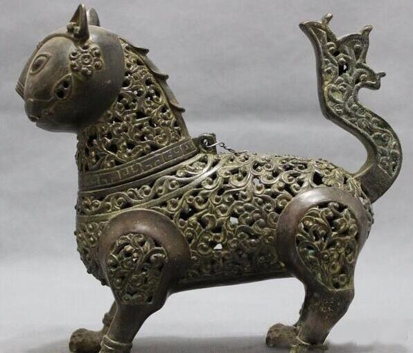 Folklorique chinois Bronze animaux tête de chat Statue bouddhisme brûleur d'encens encensoir