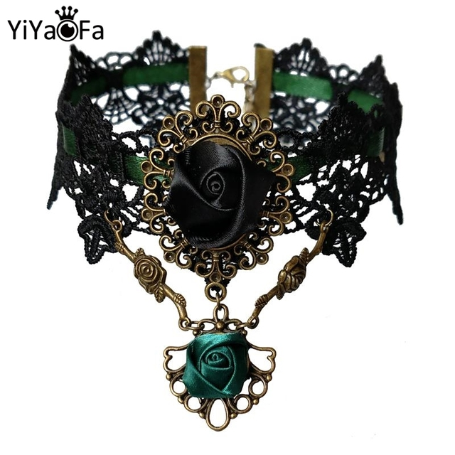 YiYaoFa False Collar Vintage Choker Necklace Handmade Lace Necklace Pendant  for Women Accessories Lady Party Jewelry 2374f6159351