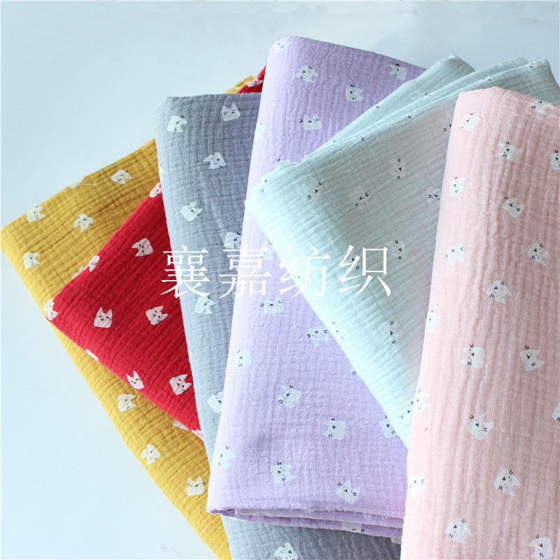 100x135cm Cotton Crepe Fabric Printing Double Gauze Seersucker Pants Children's Cloth Diy Fabric Cartoon Selected Material
