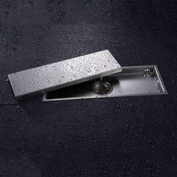 Free shipping 304 solid stainless steel 300 x 110mm square anti odor floor drain bathroom invisible.jpg 250x250