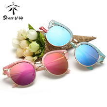 DRESSUUP 2017 Cat Eye Retro Kids Sunglasses Brand Designer Vintage Baby Boys Girls Children Sun Glasses Oculos De Sol Infantil
