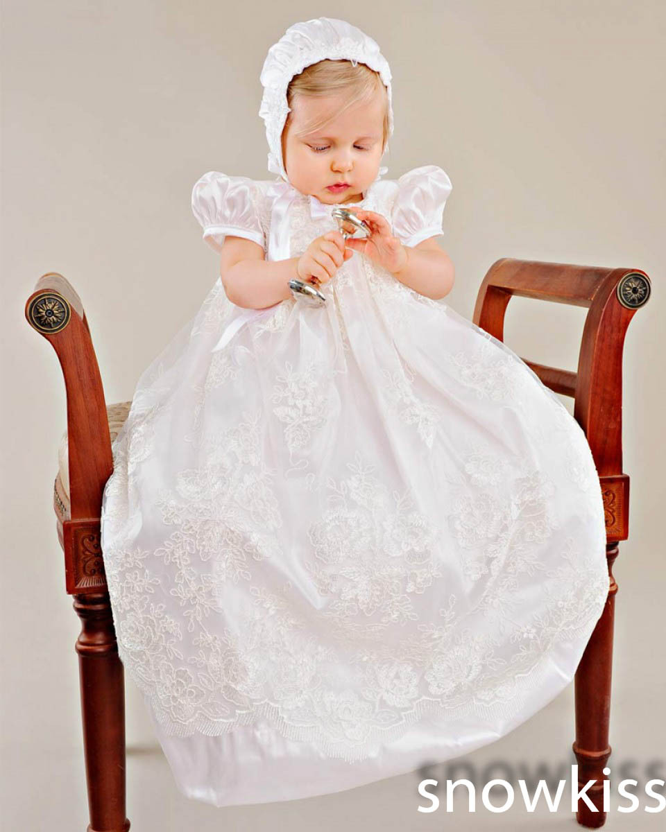 2016 White/Ivory First Communion Dresses Blessing Heirloom Christening Gown with Bonnet Sequins Beads Baby Girls Baptism Robe
