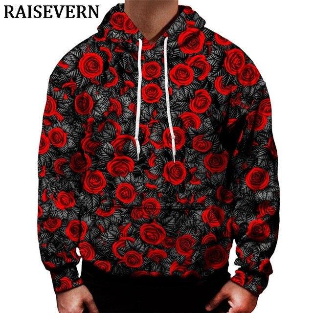 RED ROSE HOODIE 3D Print Sweatshirt Hoody Pullover Autumn Tracksuit Men  Women Hooded Tops Homme Jumper Streetwear Sportswear 0cca5f9a8e67