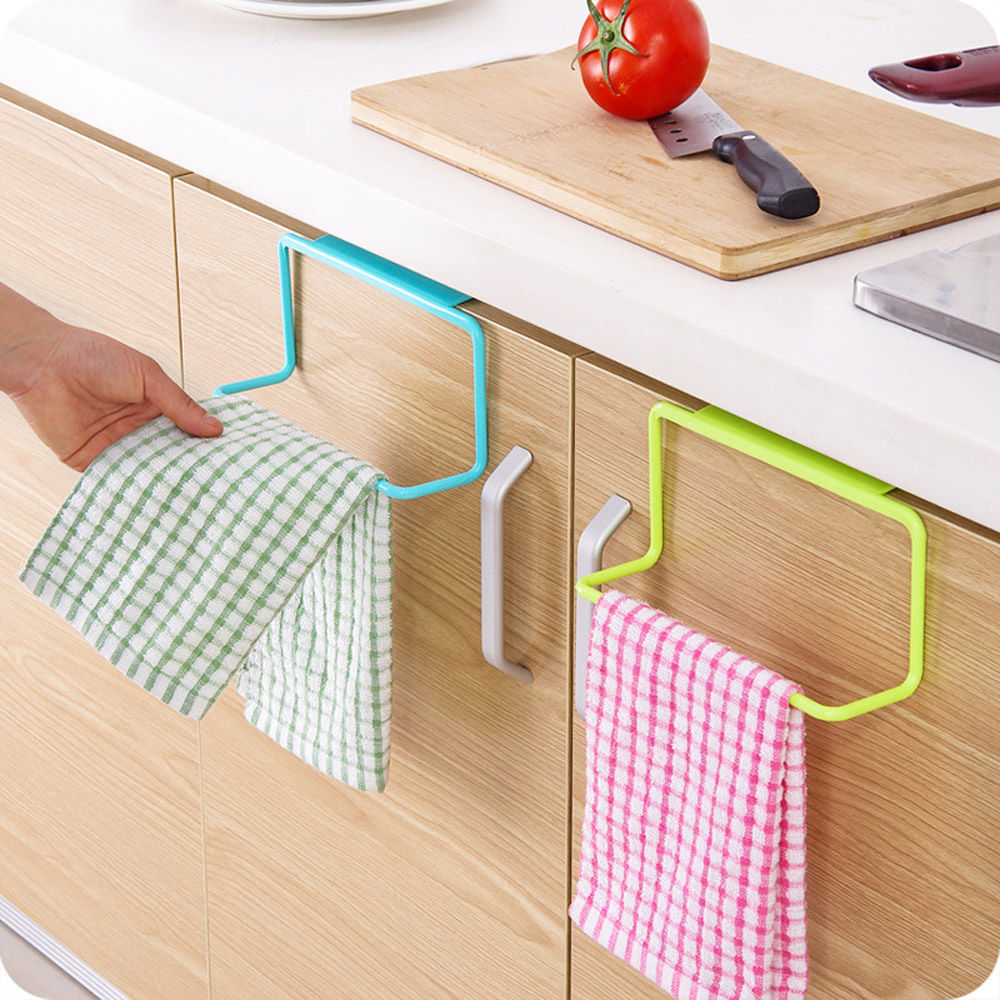 1 Pc Candy Colors Over Door Tea Towel Holder Rack Rail Cupboard Hanger Bar Hook Bathroom Kitchen Accessories Free Shipping in Storage Holders Racks from Home Garden