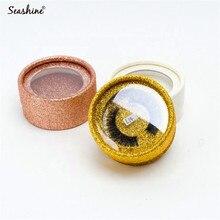 Customized False Eyelash Extension Box samples With 3D Mink Eyelashes Round Glitter Really Lash
