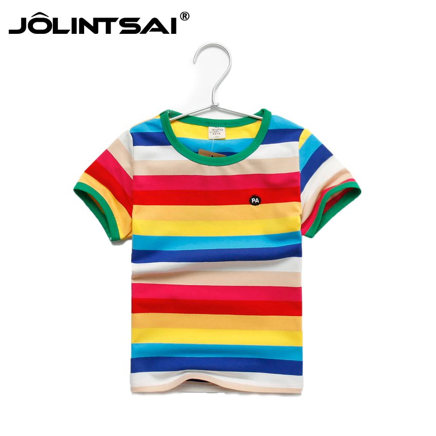 e234a608b Summer Cotton Boys Tshirt 2016 Rainbow Striped Children's Clothing Boy  Short Sleeve T-shirts For Boys Girls Fashion Kids Clothes