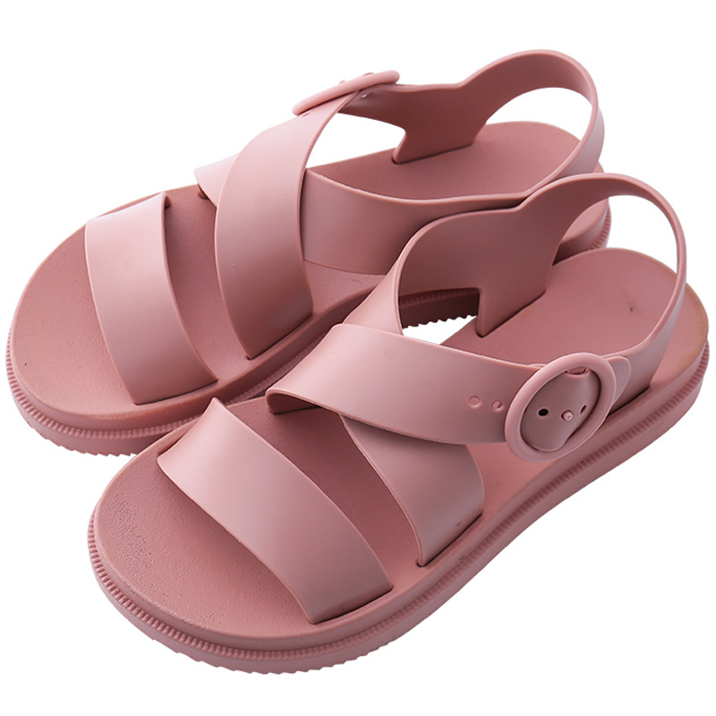 Women Flat Sandals Gladiator Open Toe Buckle Soft Jelly Sandals Female Casual Summer Flat Platform For Girl Beach Shoes